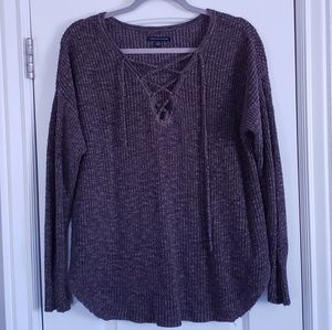 American Eagle Ribbed Lace Up Sweater-Brown